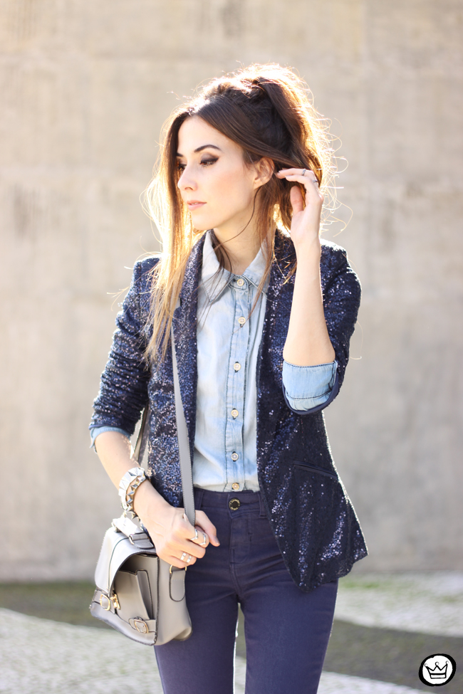 FashionCoolture - 21.05.2015 look du jour Lunender denim pants sequined blazer boyish outfit (5)