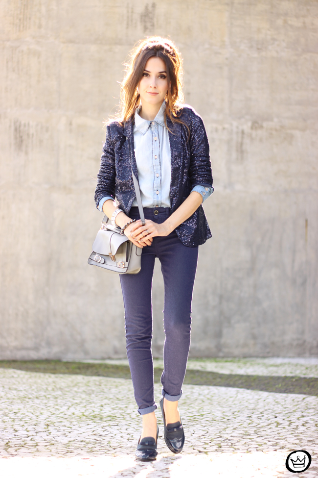 FashionCoolture - 21.05.2015 look du jour Lunender denim pants sequined blazer boyish outfit (6)