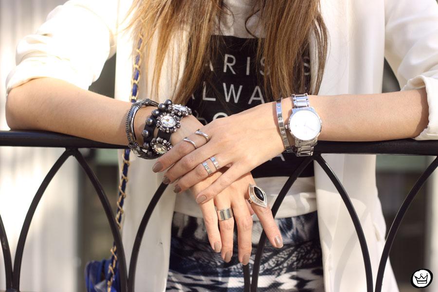 FashionCoolture - 16.05.2015 look du jour Morina blazer boyfriend t-shirt Paris printed skirt (3)