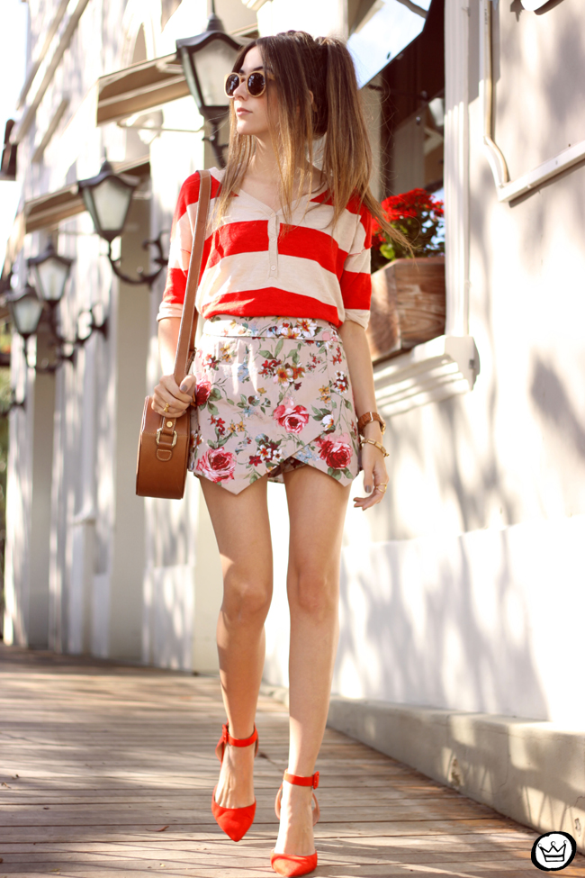 FashionCoolture - 01.06.2015 look du jour mix of prints stripes and floral Gap (1)