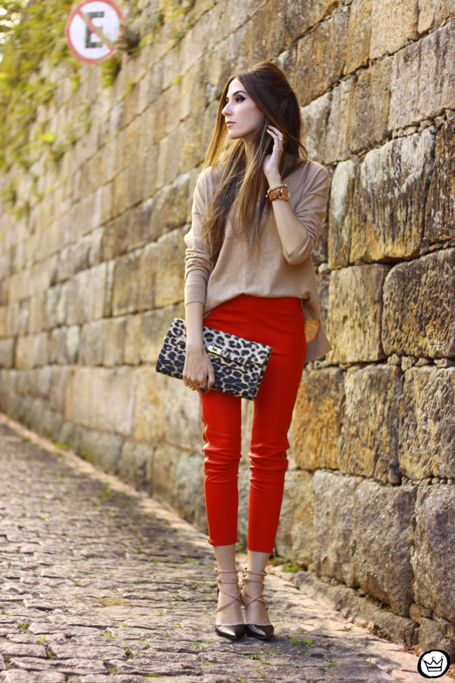 FashionCoolture - 04.06.2015 look du jour red leather pants Les Eclaires Gap jumper (1)