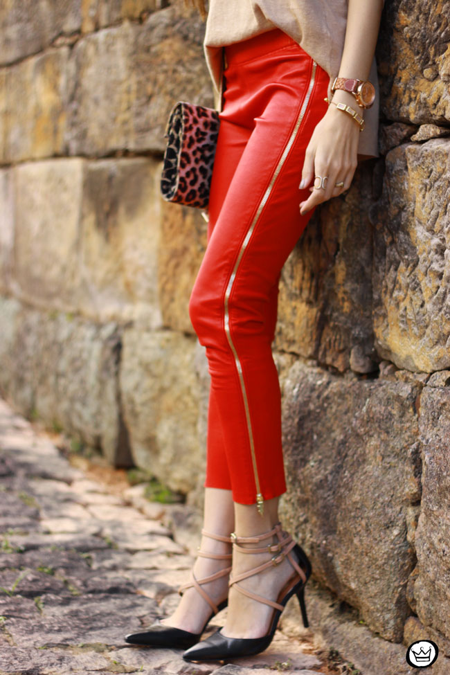 FashionCoolture - 04.06.2015 look du jour red leather pants Les Eclaires Gap jumper (3)