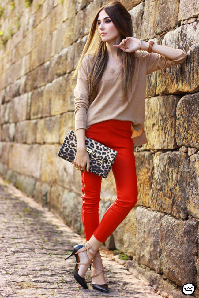 FashionCoolture - 04.06.2015 look du jour red leather pants Les Eclaires Gap jumper (4)