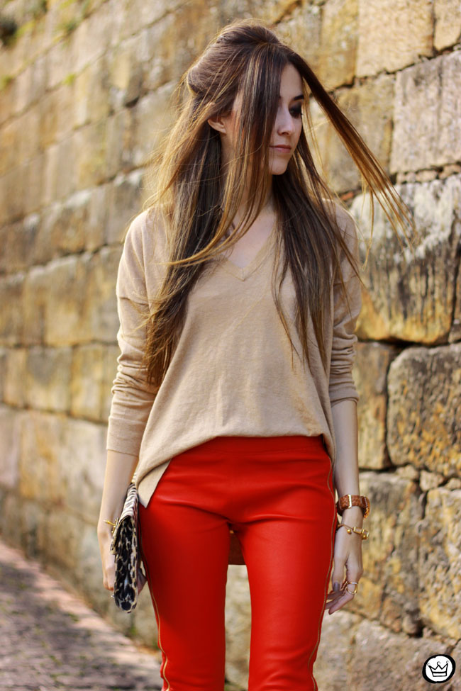 FashionCoolture - 04.06.2015 look du jour red leather pants Les Eclaires Gap jumper (5)