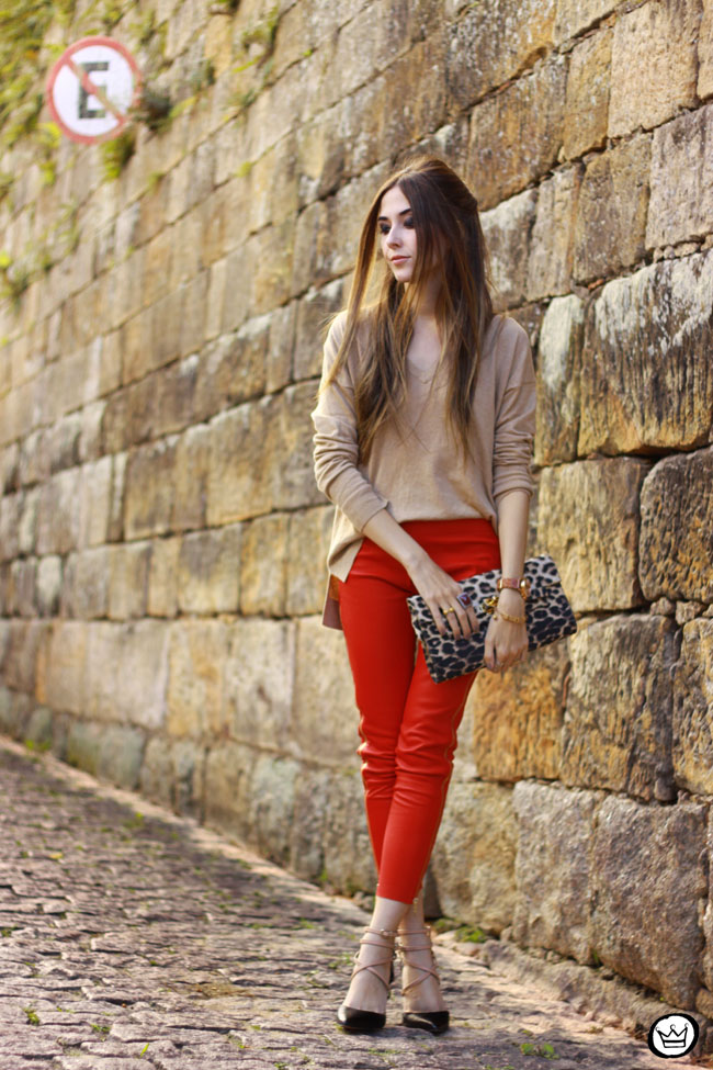 FashionCoolture - 04.06.2015 look du jour red leather pants Les Eclaires Gap jumper (6)