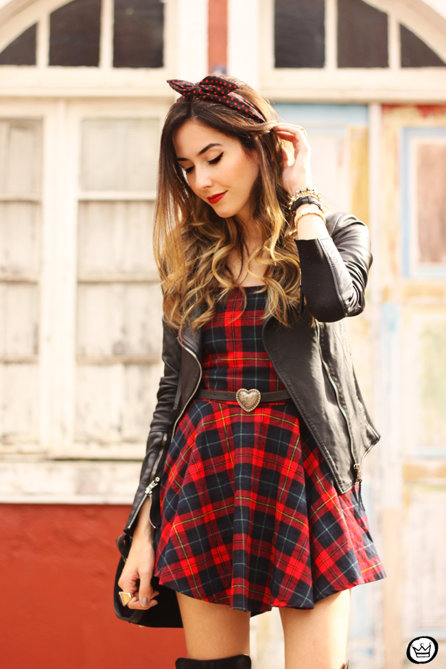 FashionCoolture - 03.07.2015 look du jour plaid dress leather jackets over knee boots (5)