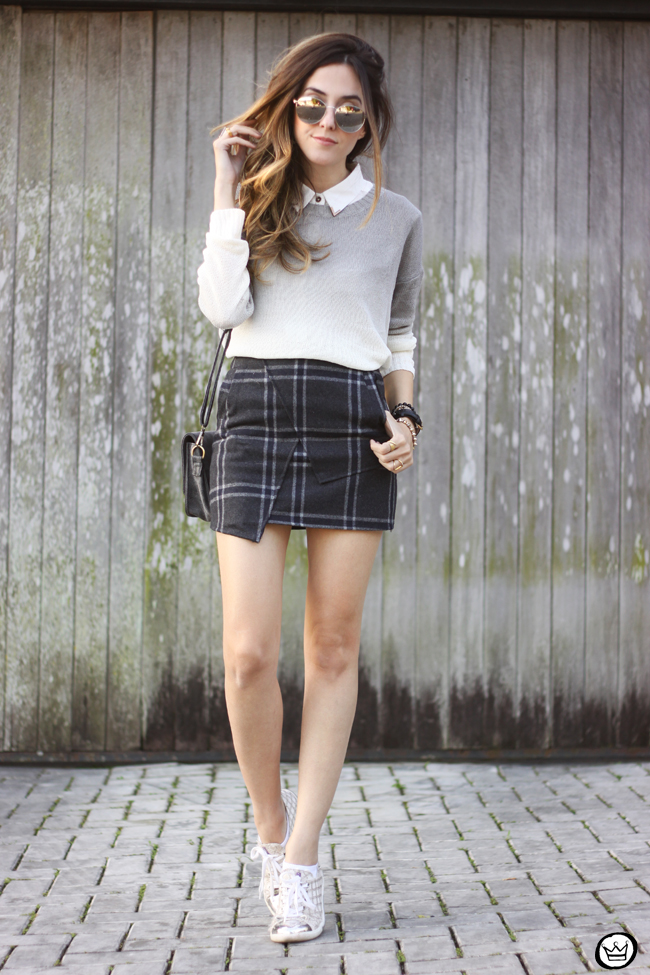FashionCoolture -08.07.2015 look du jour Ashincans plaid skirt ombré jumper (3)