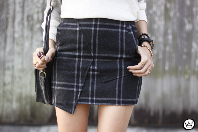 FashionCoolture -08.07.2015 look du jour Ashincans plaid skirt ombré jumper (4)