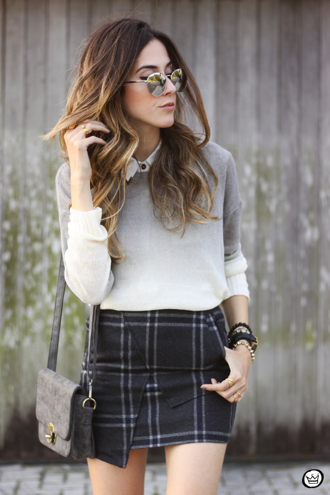 FashionCoolture -08.07.2015 look du jour Ashincans plaid skirt ombré jumper (5)