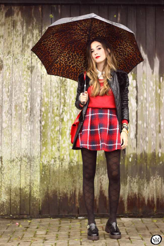 FashionCoolture - 09.07.2015 look du jour plaid skirt rainy day outfit (1)