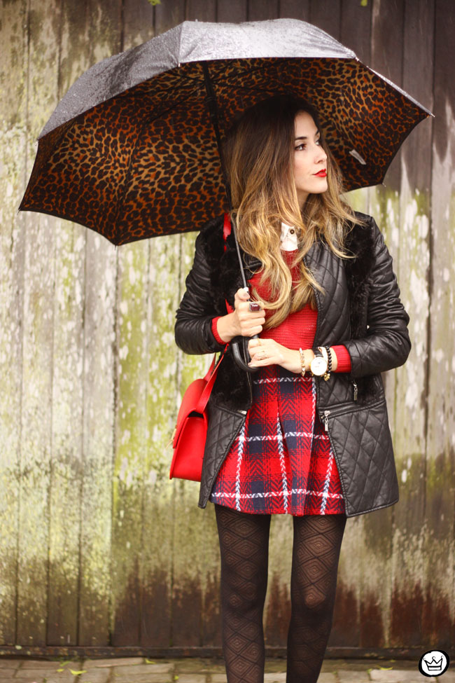 FashionCoolture - 09.07.2015 look du jour plaid skirt rainy day outfit (2)