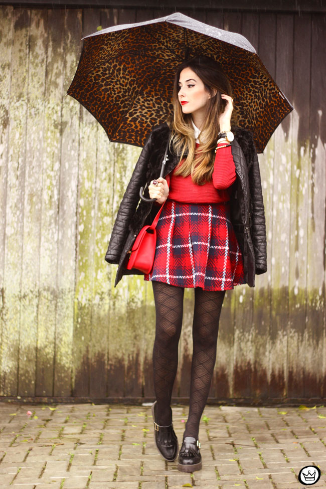 FashionCoolture - 09.07.2015 look du jour plaid skirt rainy day outfit (5)