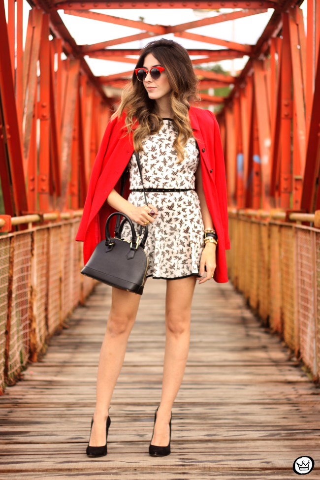 FashionCoolture - 14.07.2015 look du jour SlyWear printed dress red coat (1)