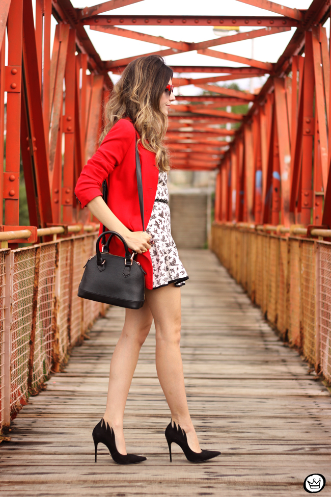 FashionCoolture - 14.07.2015 look du jour SlyWear printed dress red coat (3)
