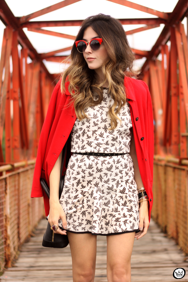 FashionCoolture - 14.07.2015 look du jour SlyWear printed dress red coat (5)