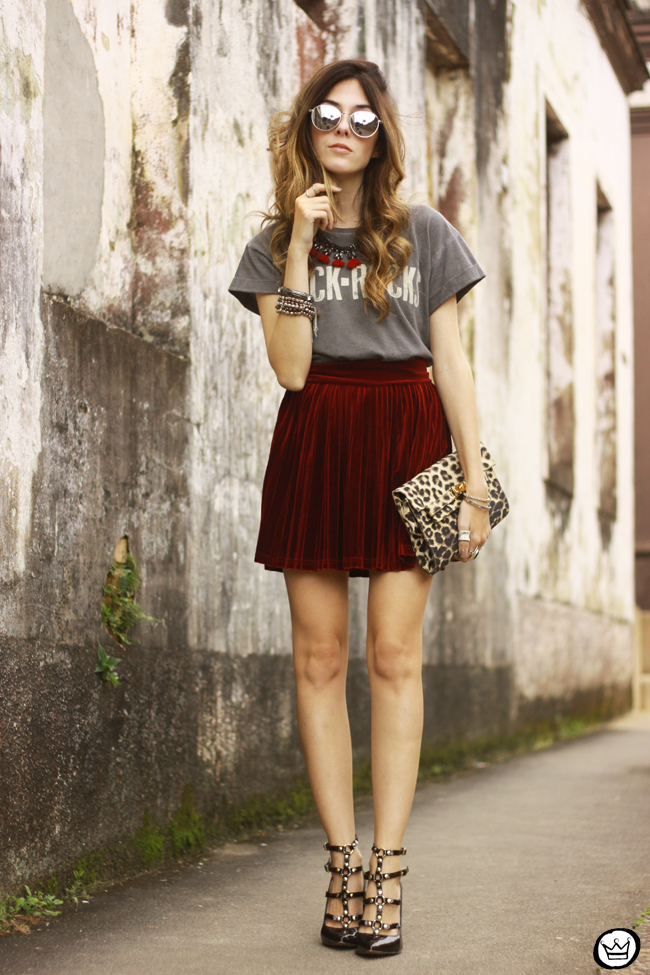 FashionCoolture - 15.07.2015 look du jour Velvet pleated skirt rocker outfit (1)