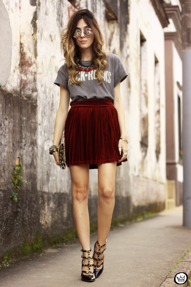 FashionCoolture - 15.07.2015 look du jour Velvet pleated skirt rocker outfit (7)