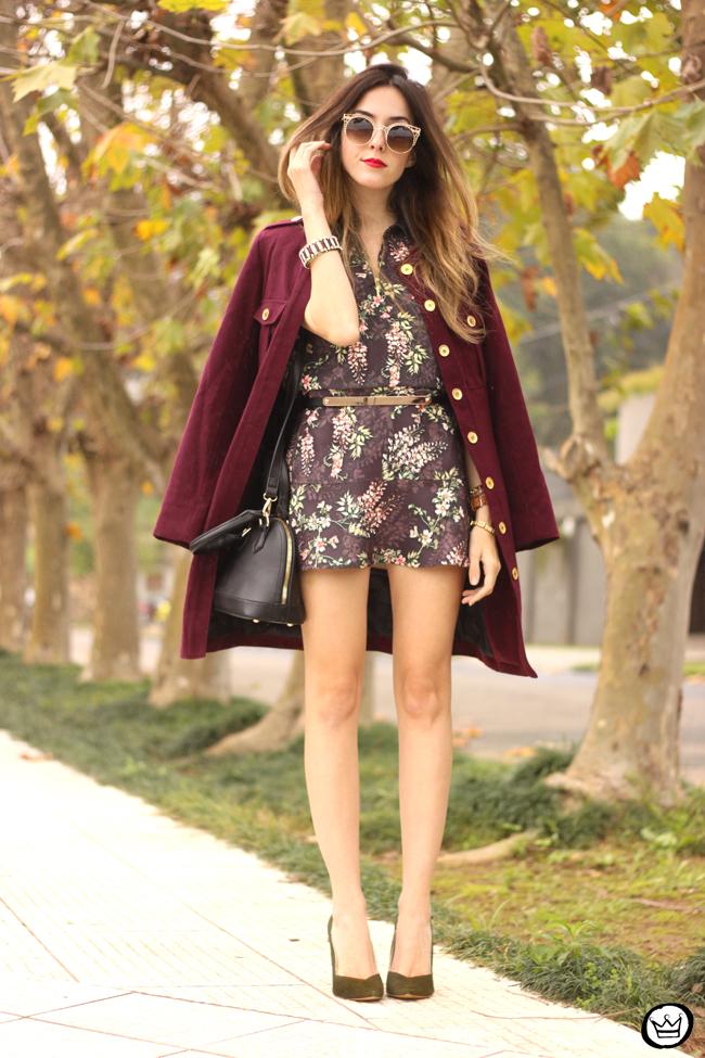 FashionCoolture - 27.07.2015 look du jour AMARO marsalla coat floral suit (1)