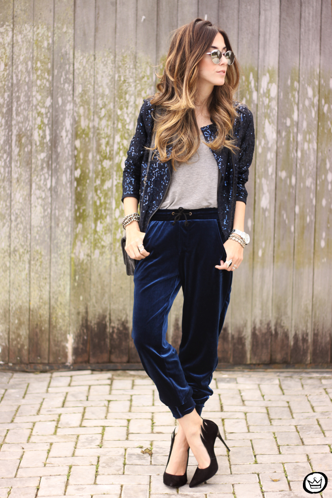 Velvet Pants and Sequined Jacket