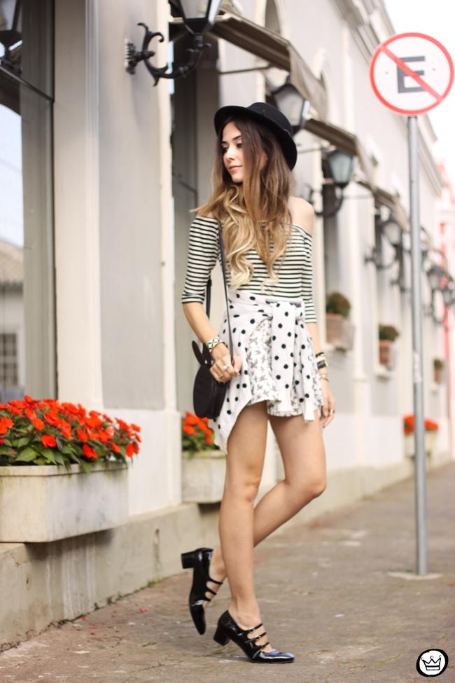 FashionCoolture - 04.08.2015 Slywear black and white mix of prints striped top (3)