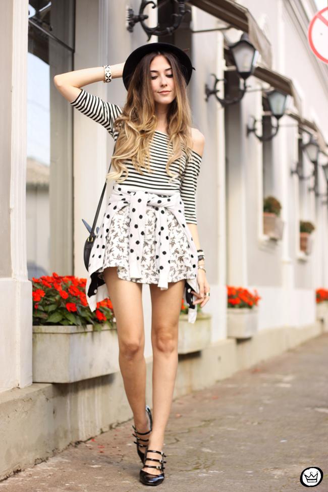 FashionCoolture - 04.08.2015 Slywear black and white mix of prints striped top (7)