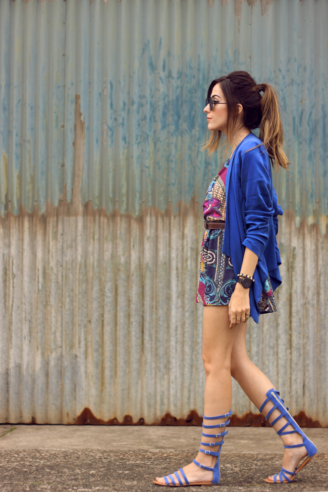 FashionCoolture - 07.10.2015 look du jour Lez a Lez printed romper gladiator sandals (3)