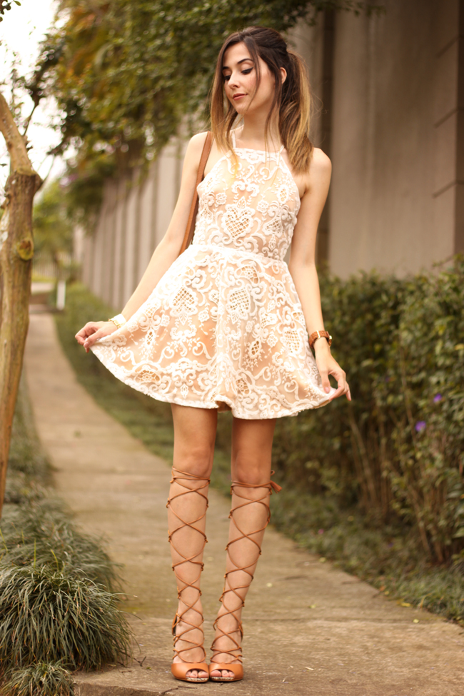 FashionCoolture - 13.10.2015 look du jour lace dress gladiator sandals (1)