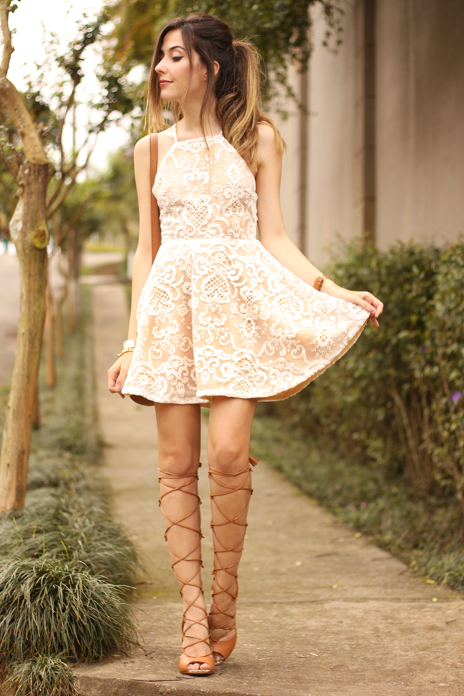 FashionCoolture - 13.10.2015 look du jour lace dress gladiator sandals (6)