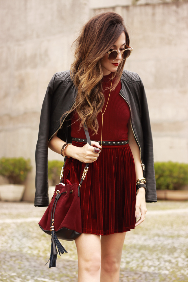 FashionCoolture - 14.10.2015 look du jour velvet pleated skirt burgundy (2)