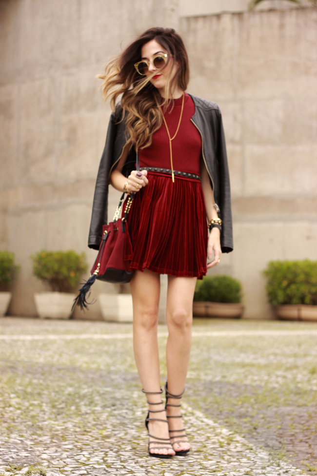 FashionCoolture - 14.10.2015 look du jour velvet pleated skirt burgundy (3)
