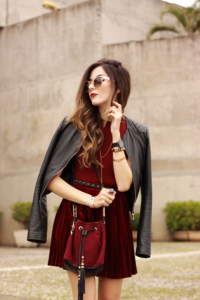 FashionCoolture - 14.10.2015 look du jour velvet pleated skirt burgundy  (5)
