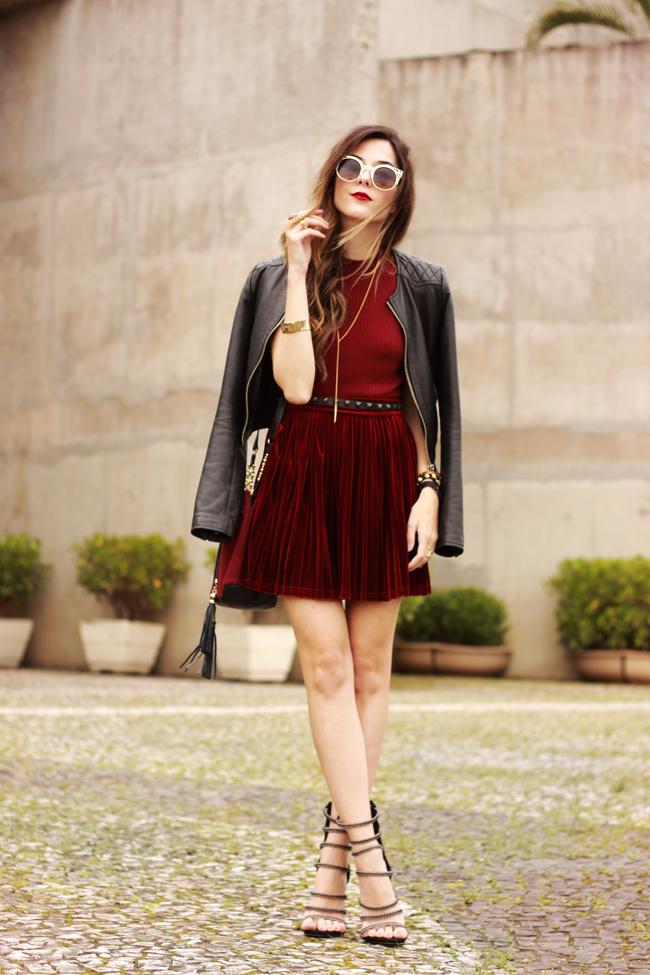 FashionCoolture - 14.10.2015 look du jour velvet pleated skirt burgundy (6)