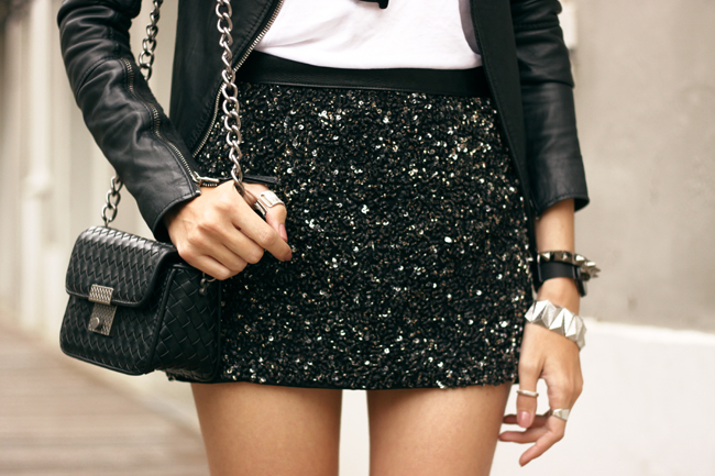 FashionCoolture - 16.10.2015 look du jour Dafiti black and white sequined skirt leather jacket (3)