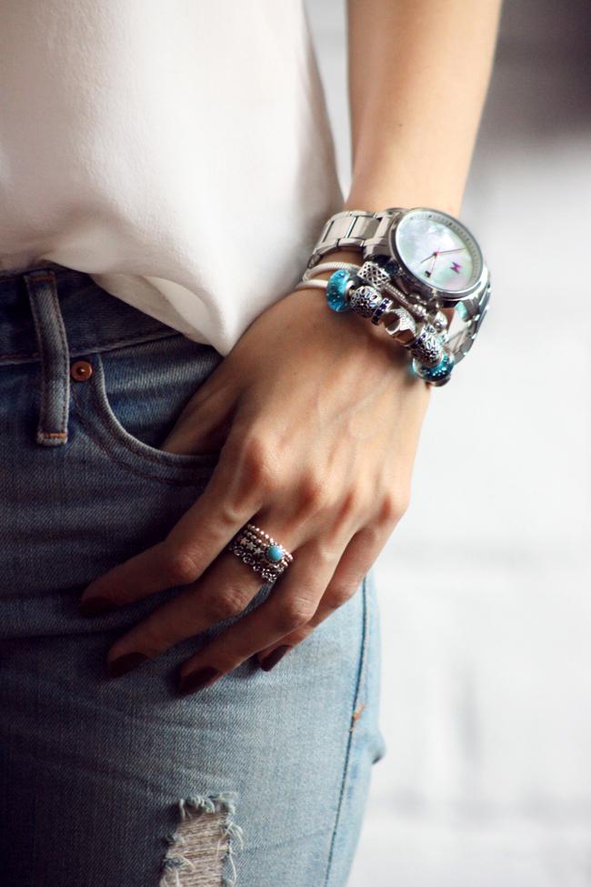 FashionCoolture - 18.11.2015 look du jour denim Gap Pandora bracelets (2)