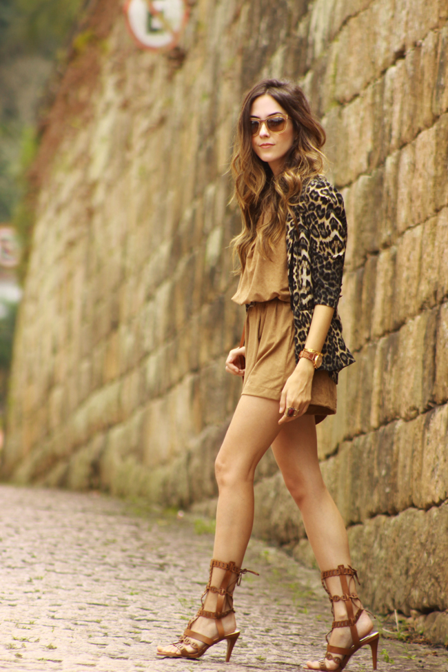 FashionCoolture - 27.11.2015 look du jour Amaro suede brown leopard print blazer (1)