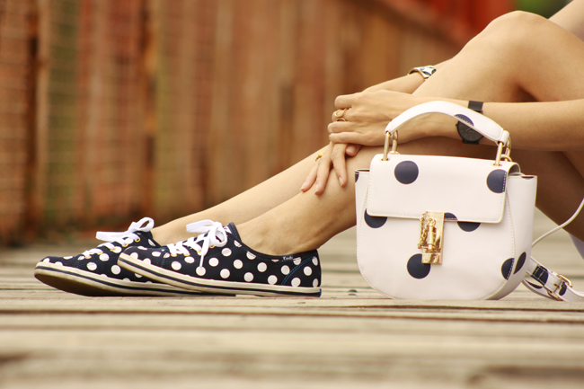 FashionCoolture - 03.12.2015 look du jour Dafiti white dress dots bag Keds (3)