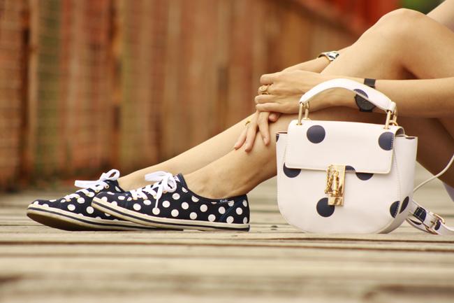 FashionCoolture - 03.12.2015 look du jour Dafiti white dress dots bag Keds (3)