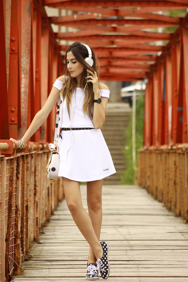 FashionCoolture - 03.12.2015 look du jour Dafiti white dress dots bag Keds (7)