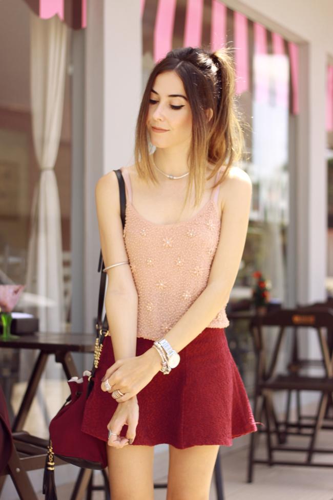 FashionCoolture - 09.12.2015 look du jour Pandora rings baby pink top Burgundy (5)