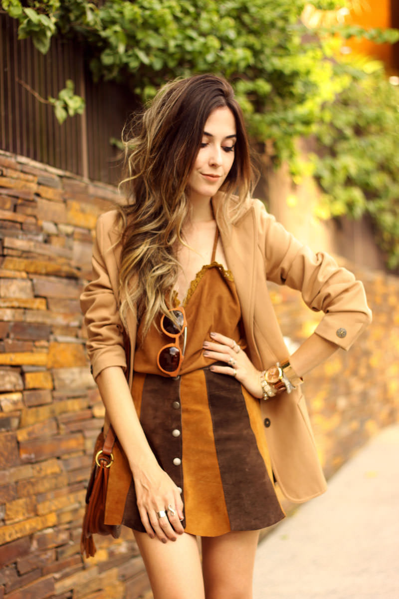 FashionCoolture - 10.03 look du jour Episode earth tones button front skirt camel outfit(2)