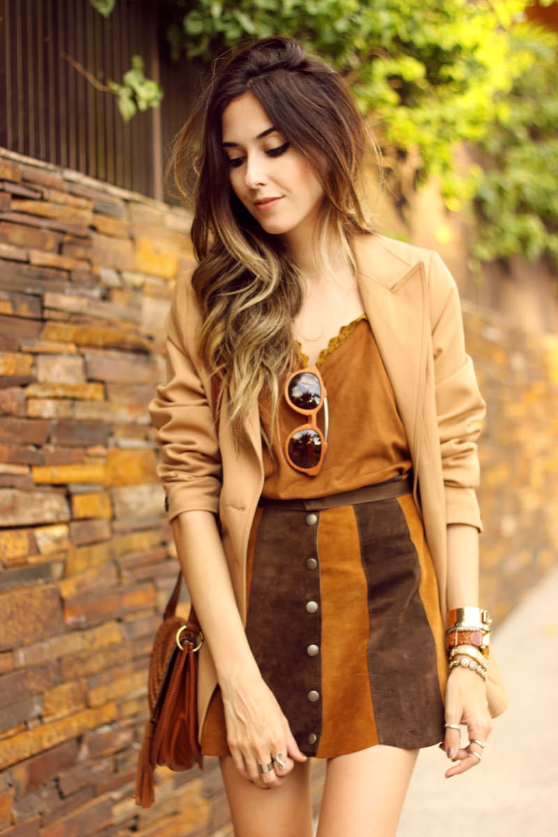 FashionCoolture - 10.03 look du jour Episode earth tones button front skirt camel outfit(6)