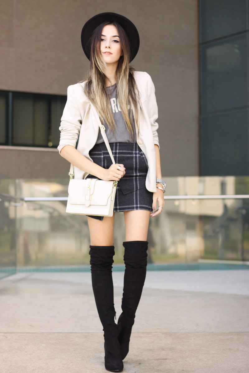 FashionCoolture - 14.03.2016 look du jour over knee boots black plaid skirt (1)