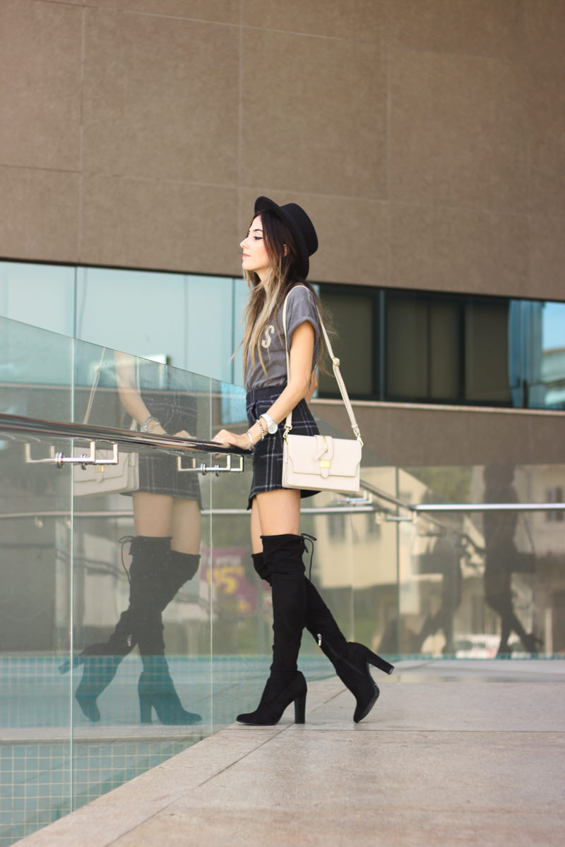 FashionCoolture - 14.03.2016 look du jour over knee boots black plaid skirt (3)