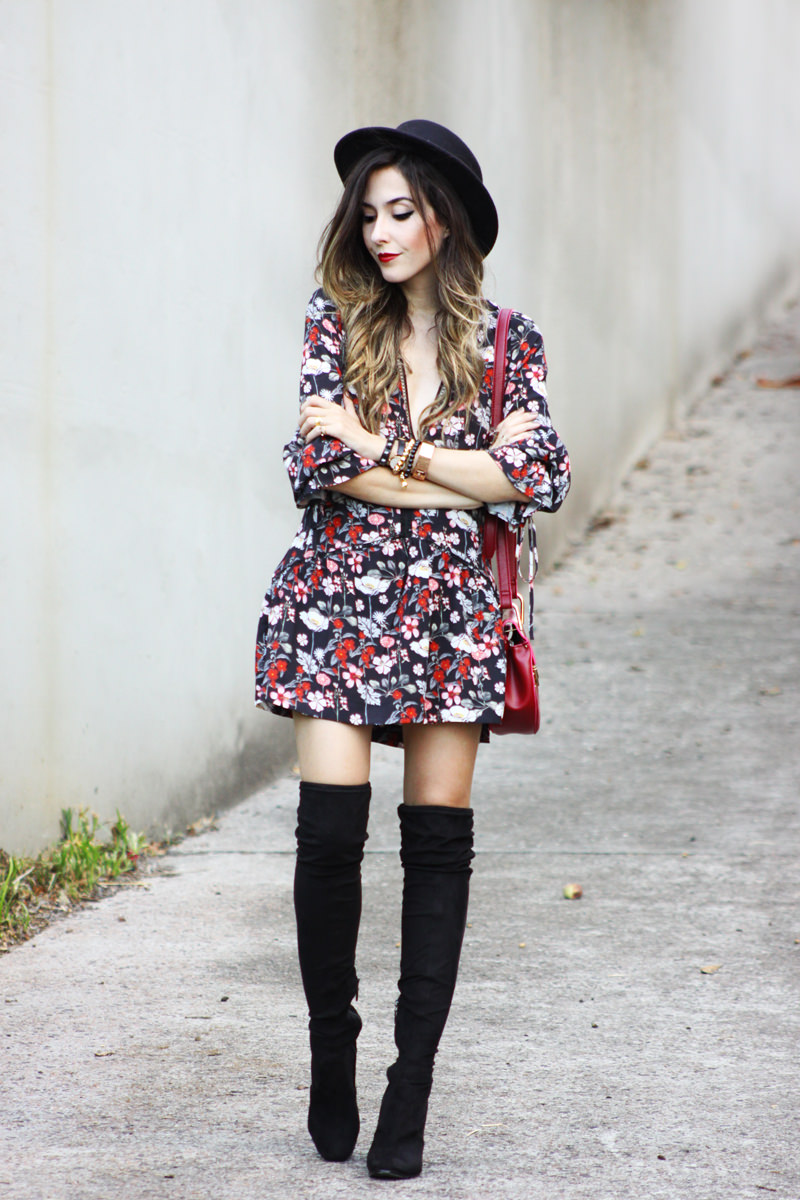 FashionCoolture - 18.03.2016 look du jour Farfetch over knee boots floral dress (1)