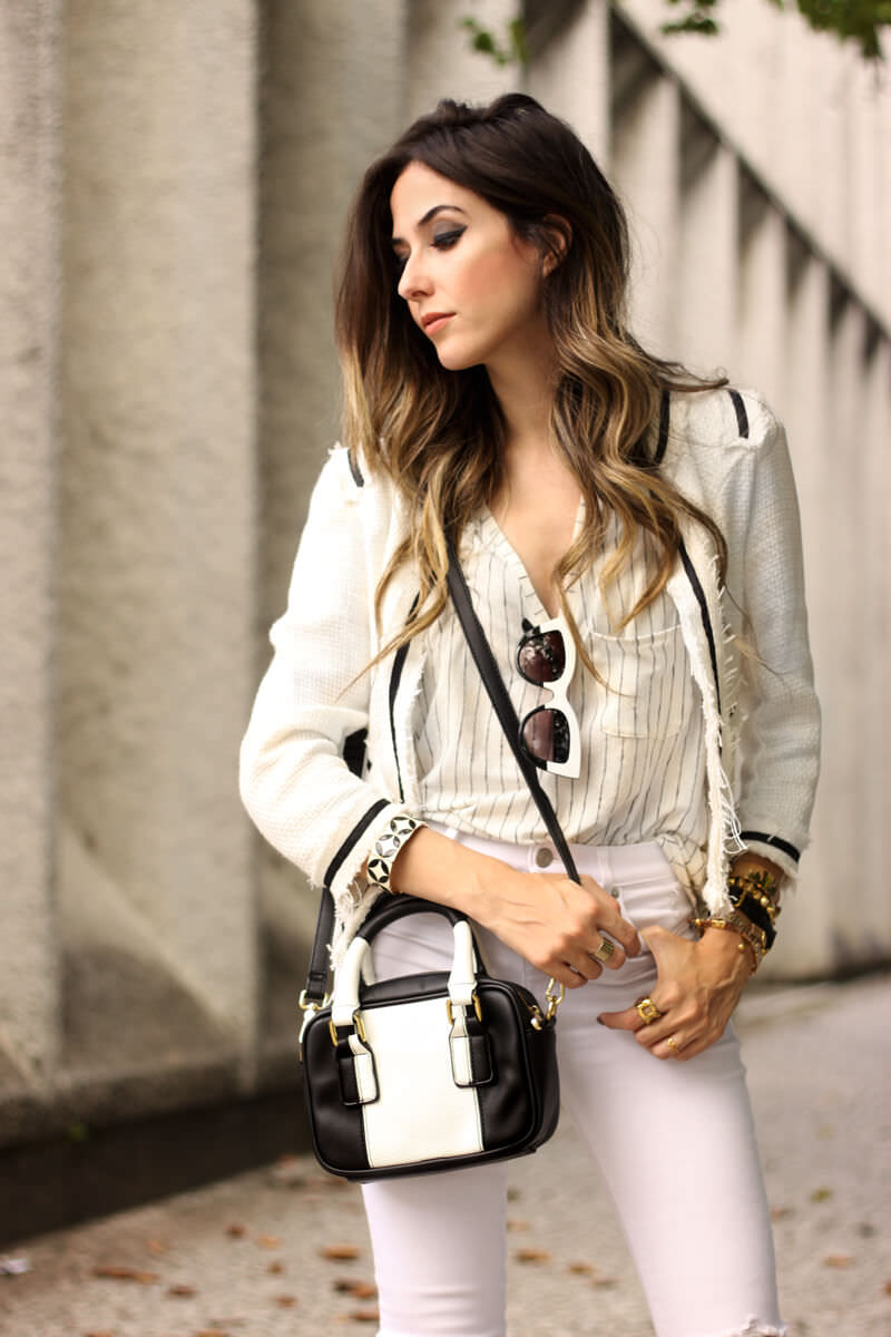 FashionCoolture - 24.03.2016 look du jour white outfit pied de poule heels denim (2)