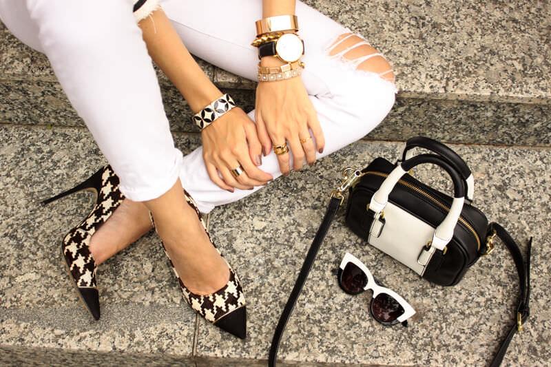 FashionCoolture - 24.03.2016 look du jour white outfit pied de poule heels denim (3)