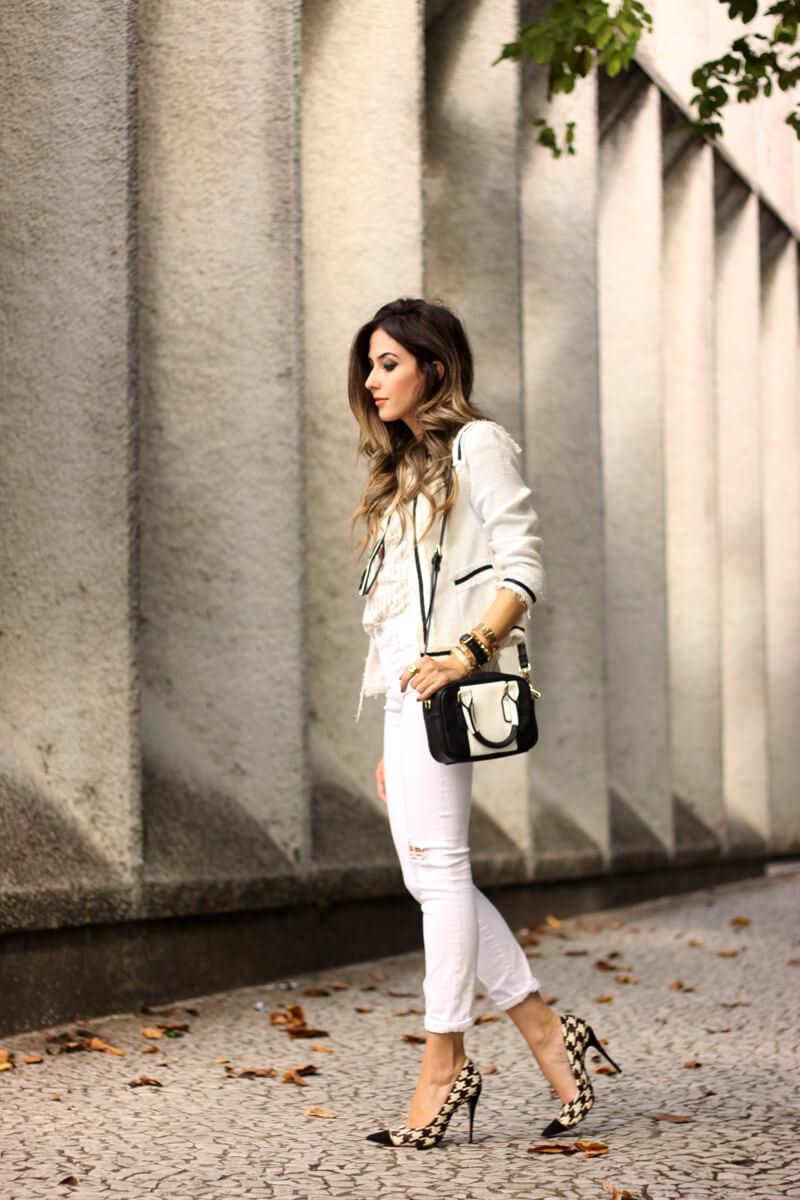 FashionCoolture - 24.03.2016 look du jour white outfit pied de poule heels denim (4)