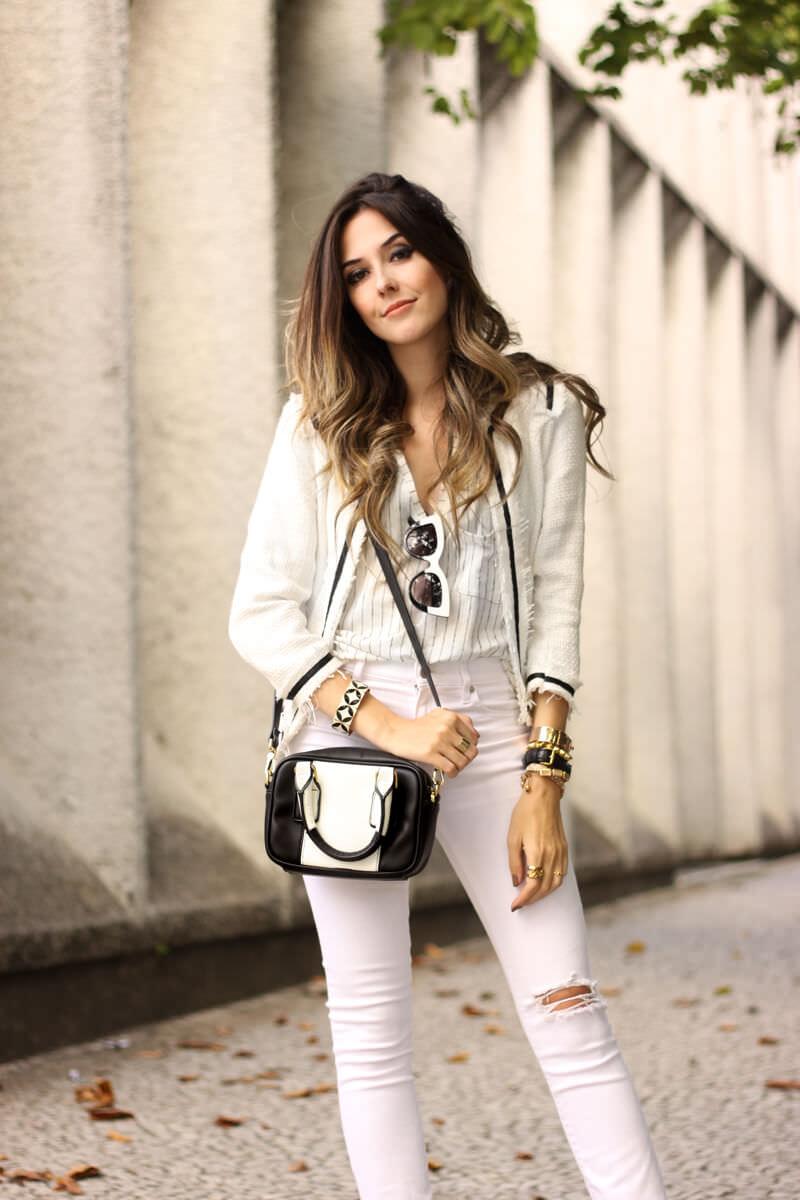 FashionCoolture - 24.03.2016 look du jour white outfit pied de poule heels denim (6)