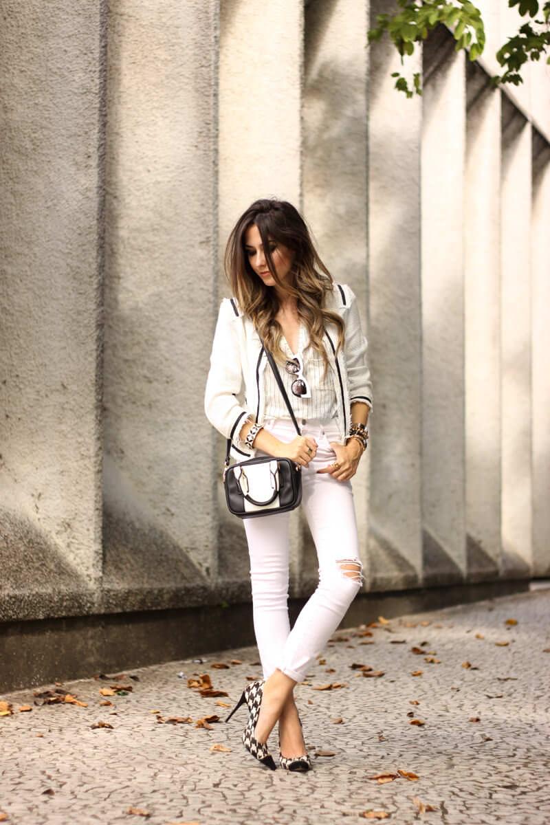 FashionCoolture - 24.03.2016 look du jour white outfit pied de poule heels denim (7)