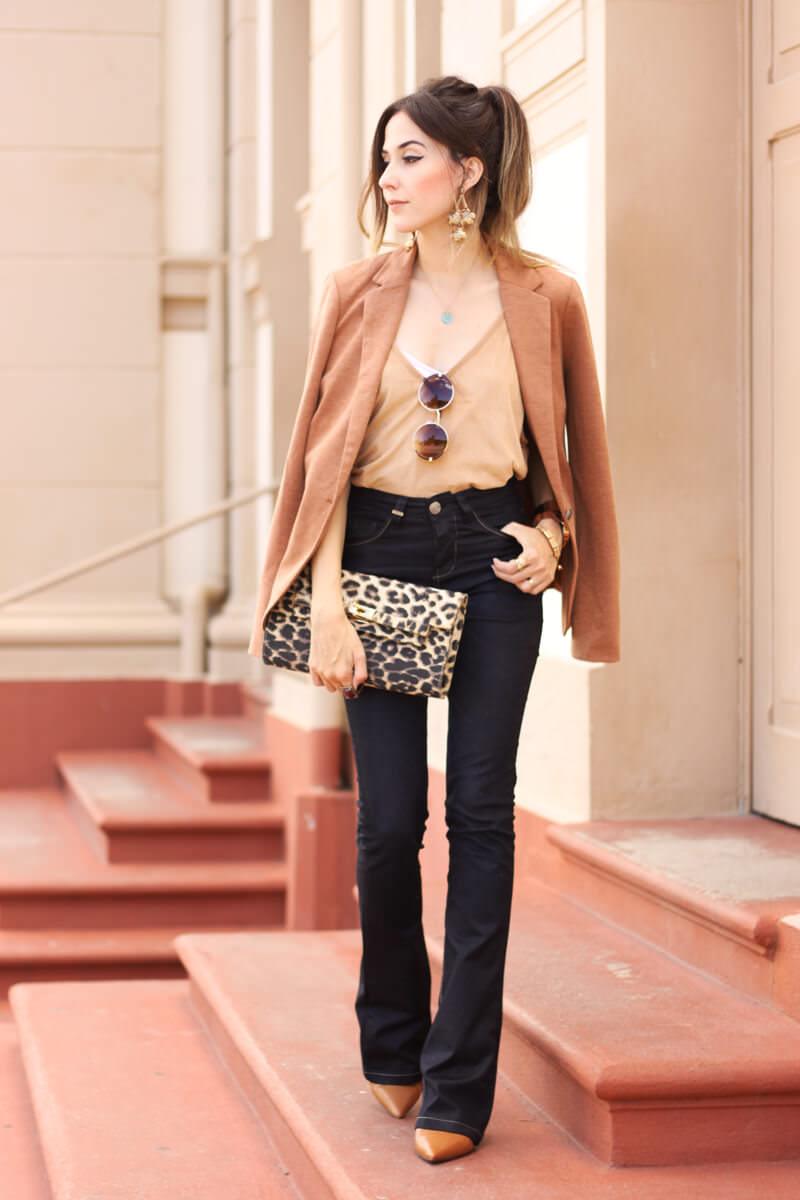 FashionCoolture - 30.03.2016 look du jour flare denim MOfficer jeans camel blazer (1)